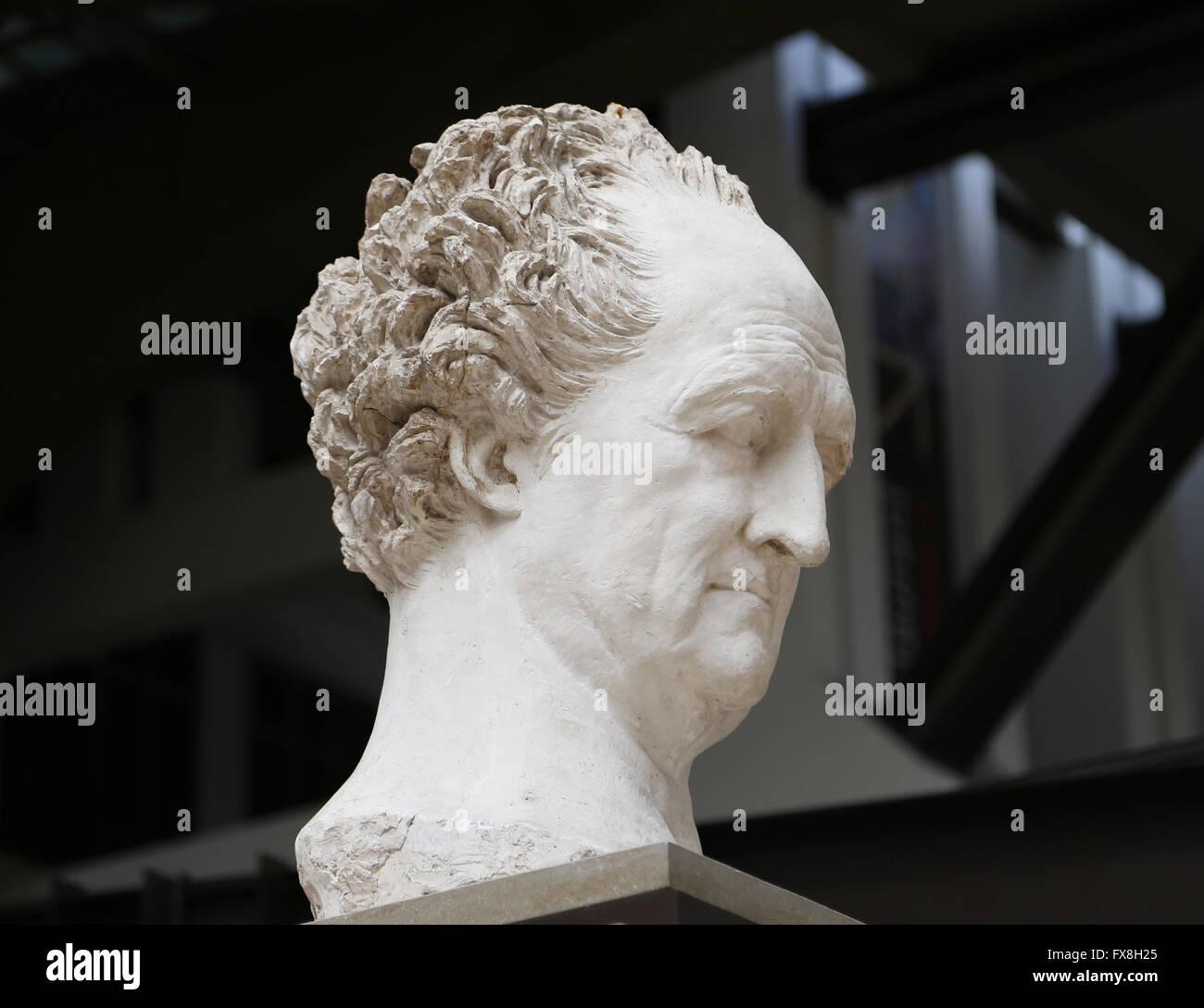 Johann Wolfgang von Goethe, 1829-1831. Colossale testa di gesso da David d'Angers (1788-1856). Il Museo d' Immagini Stock