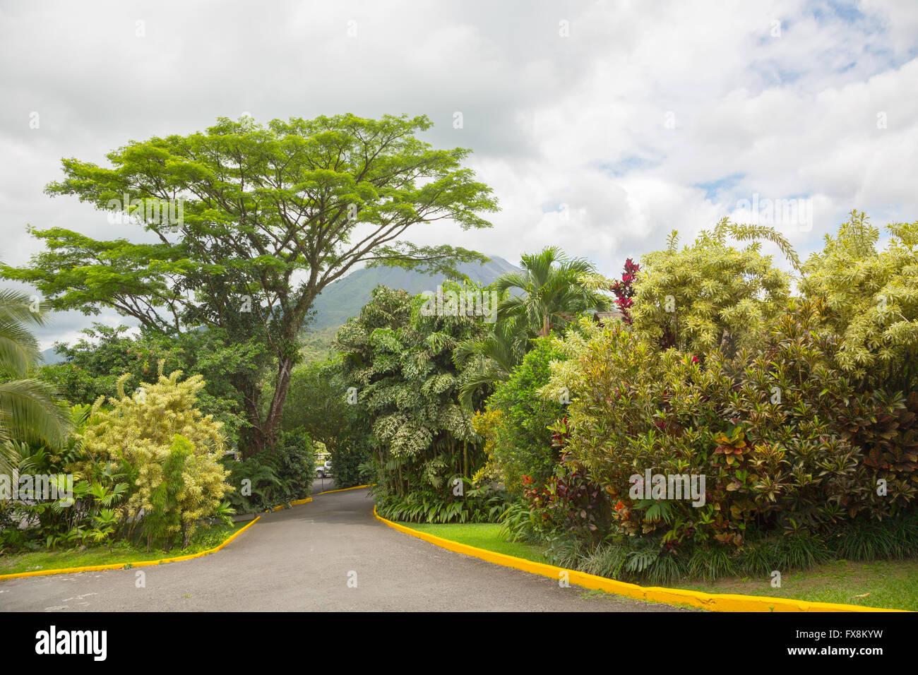Vista del Vulcano Arenal cono da La Fortuna posto, Costa Rica Immagini Stock