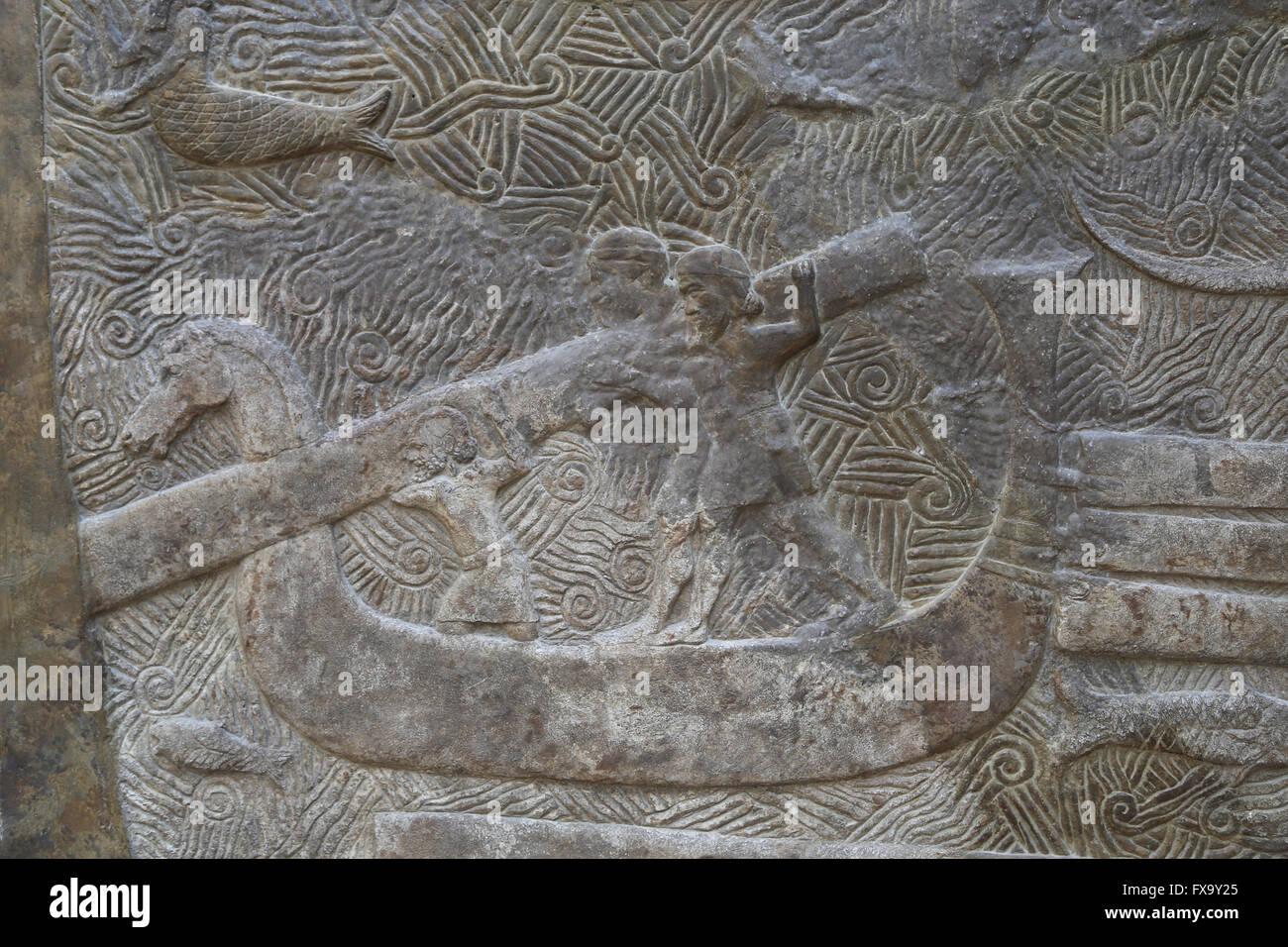 Lastra. Il trasporto del legname (cedri del Libano, civiltà fenicia). Navi da trasporto. Palazzo di Sargon Immagini Stock