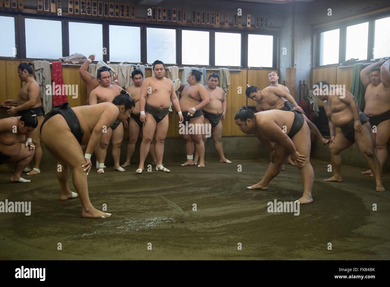 Tokyo, Giappone - 21 dicembre 2014: giapponese lottatore di sumo formazione nel loro stallo in quartiere Ryogoku. Immagini Stock