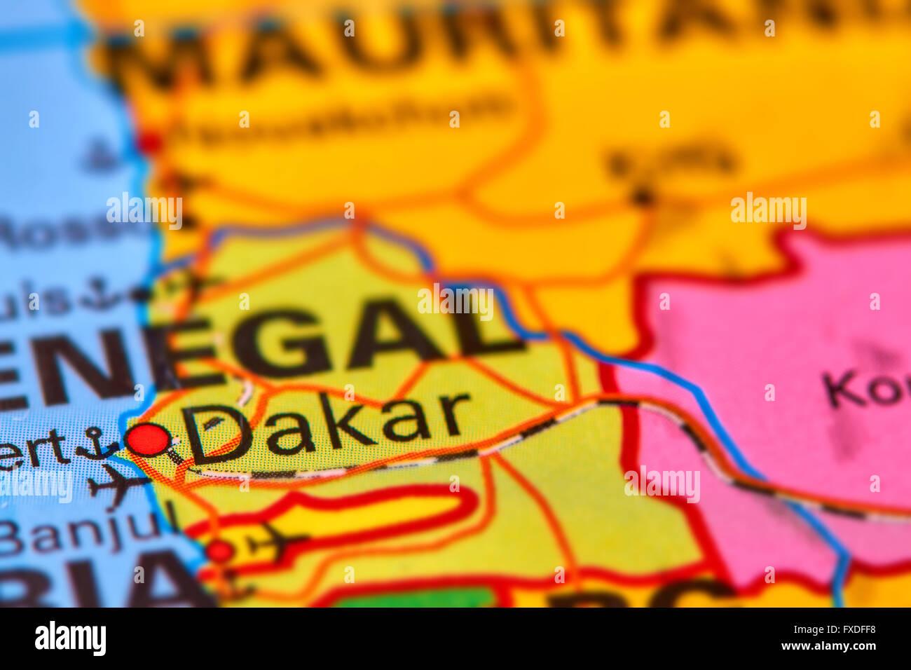 Dakar, capitale del Senegal in Africa sulla mappa del mondo Immagini Stock