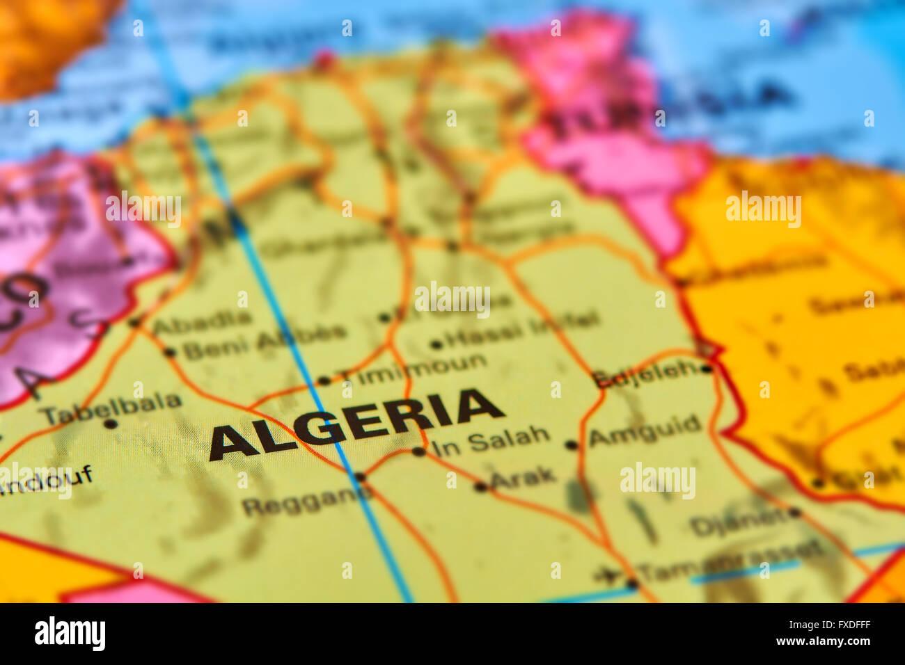 Algeria paese in Africa sulla mappa del mondo Immagini Stock