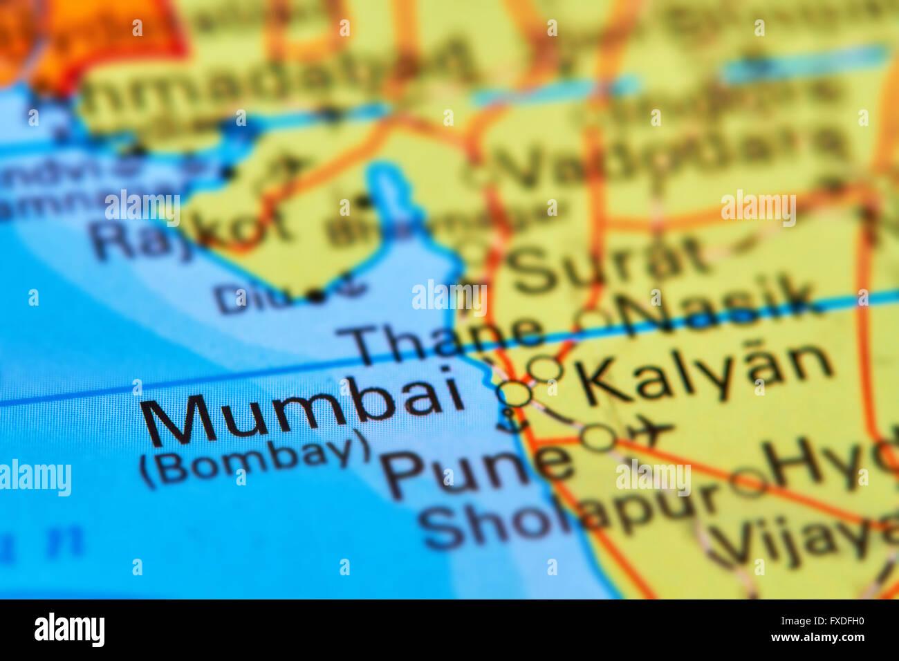 Mumbai (Bombay), città in India, Asia sulla mappa del mondo Immagini Stock
