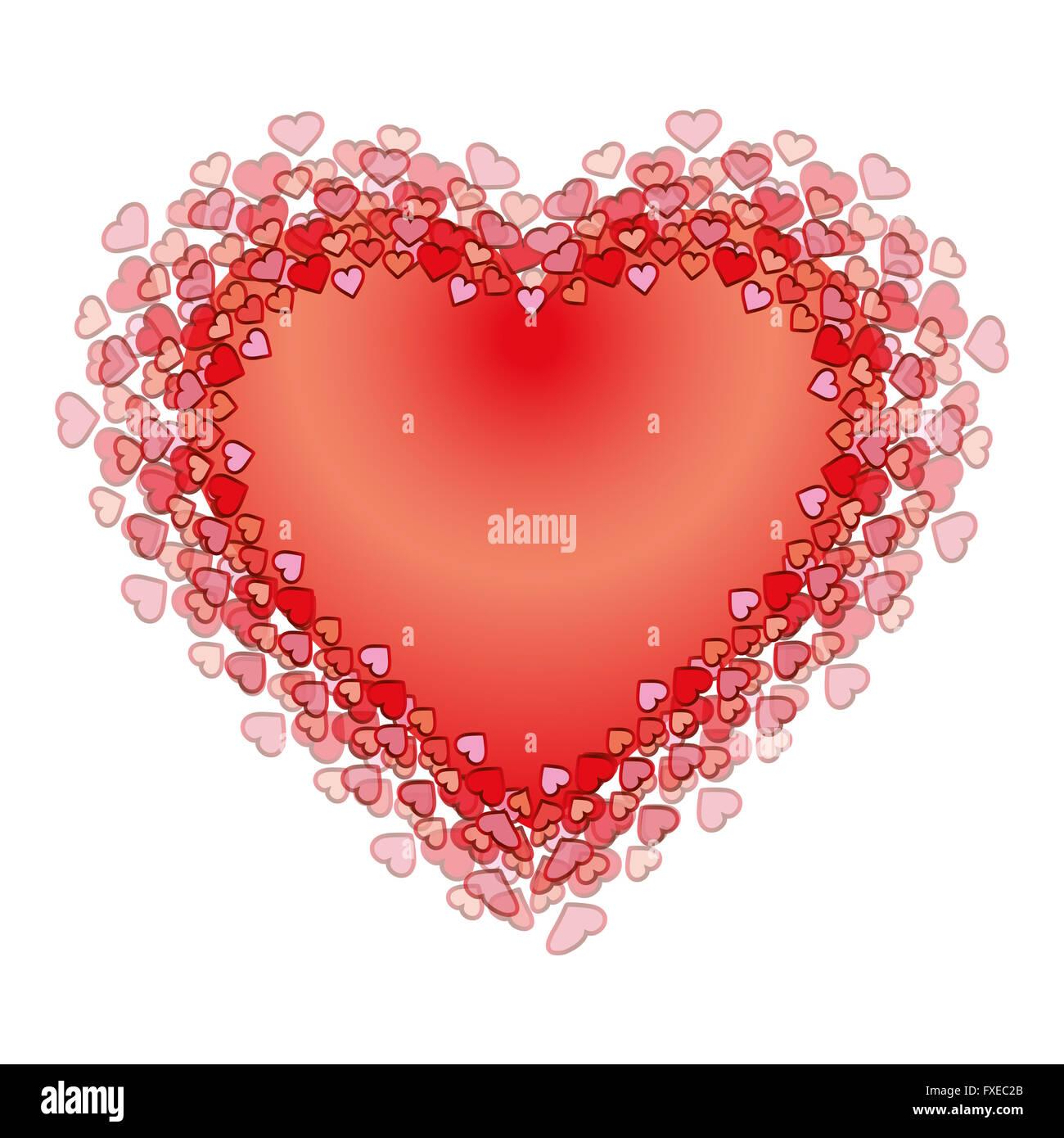 Valentines cuore rosso. illustrazione. Sfondo. eps Immagini Stock
