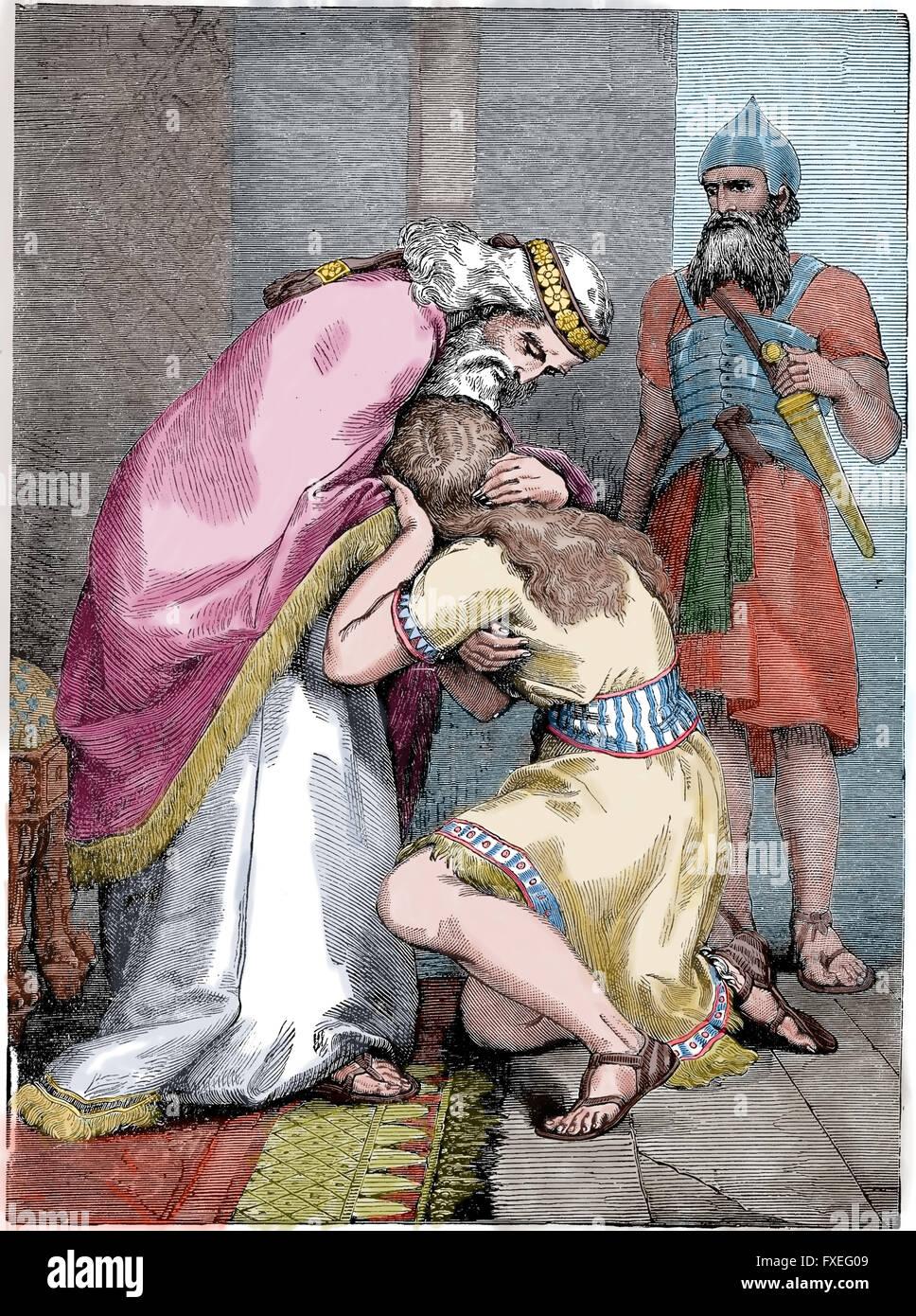 Il Vecchio Testamento. David invia per Assalonne e baci di lui. Incisione. Colore. Xix secolo. Immagini Stock