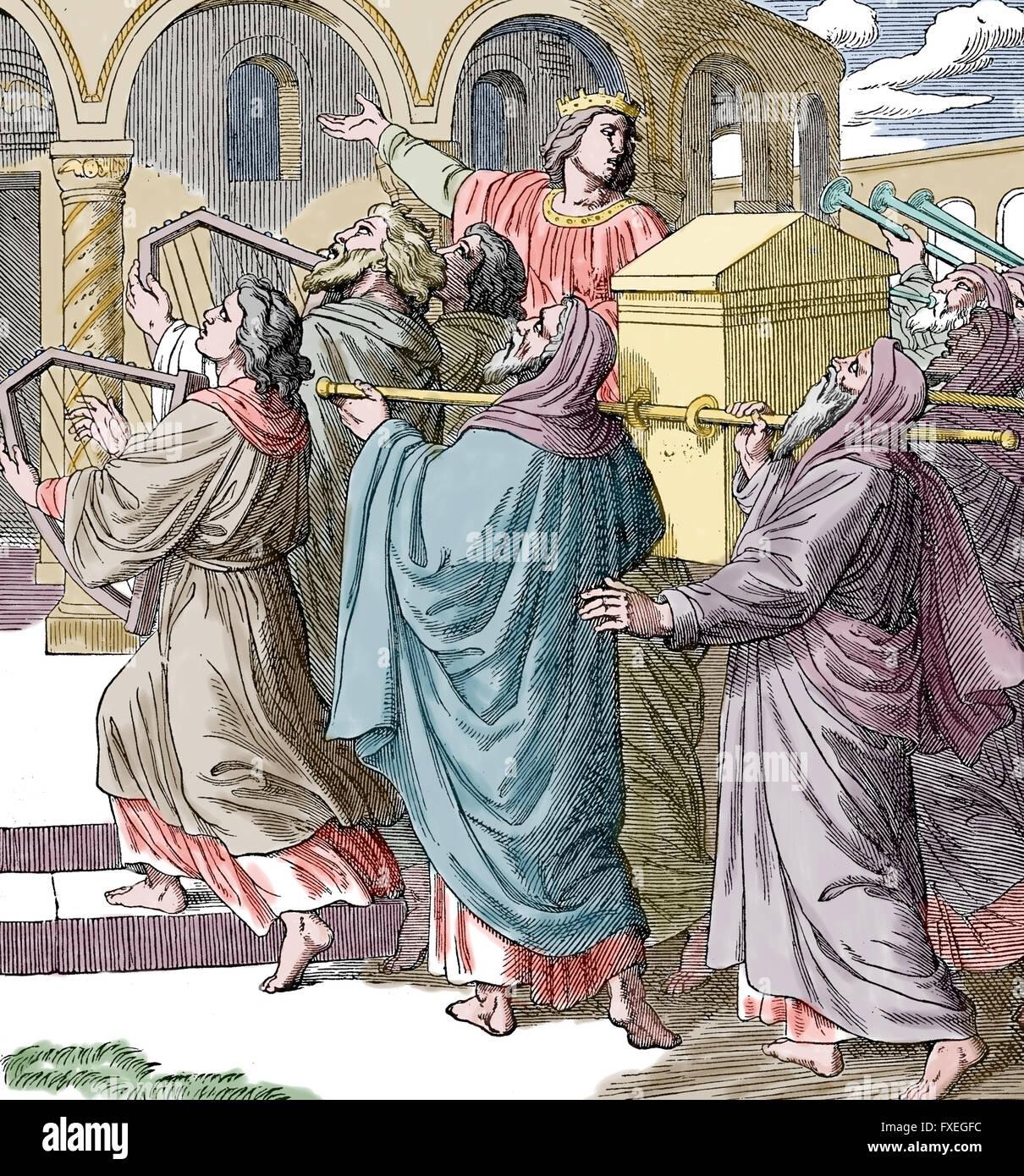 Il Vecchio Testamento. L'Arca portato dal Levita Sacerdote di Re Salomone Tempio. Incisione, colore. Immagini Stock