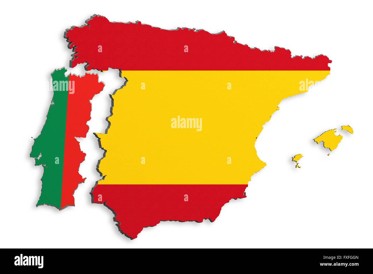 Portogallo Spagna Cartina.3d Rendering Di Luminoso Colorato Della Penisola Iberica Mappa Isolato Nel Muro Bianco Con La Spagna E Il Portogallo Flag Foto Stock Alamy