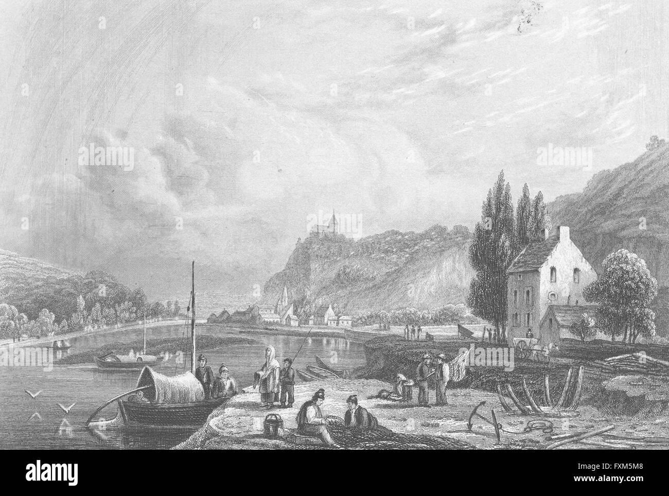 Belgio: Choquier: Fussell Imbarcazioni da fiume, antica stampa 1840 Foto Stock