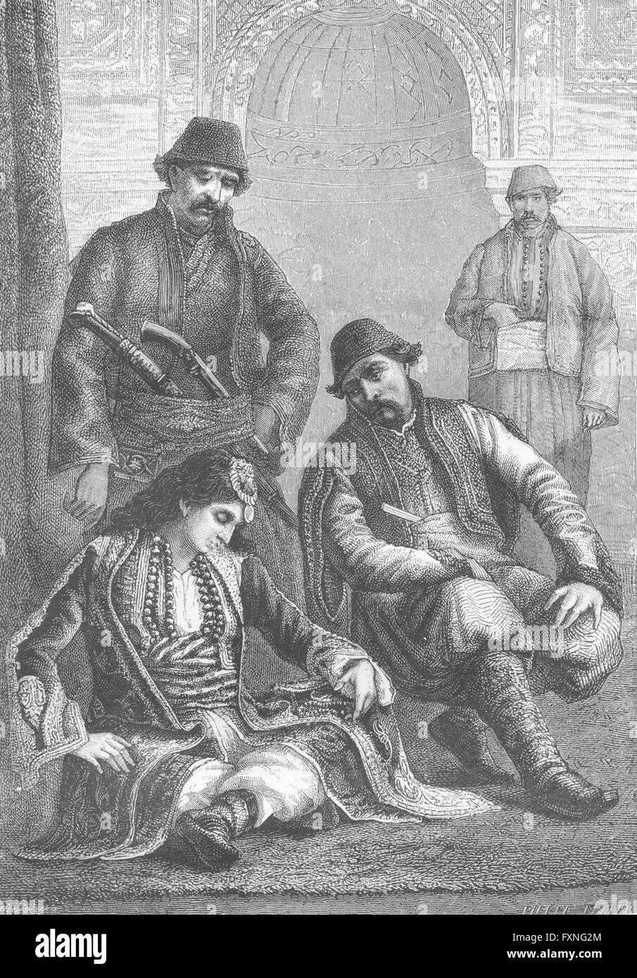 Turchia: Musulmana di Edirne & lady Prisrend, antica stampa c1885 Immagini Stock