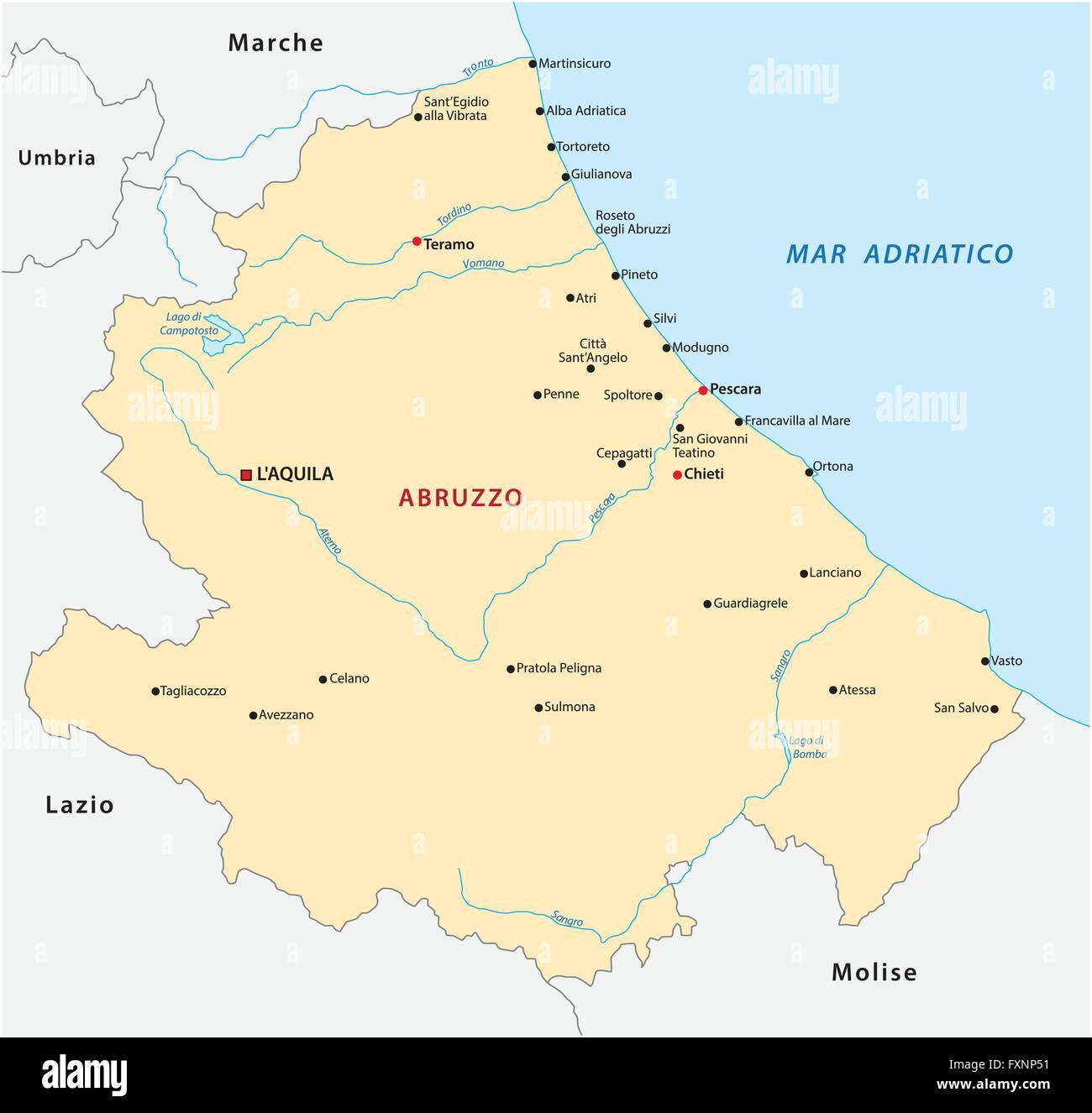 Abruzzo Cartina Geografica Dettagliata.Mappa Abruzzo Italia Illustrazione Vettoriale 102511277