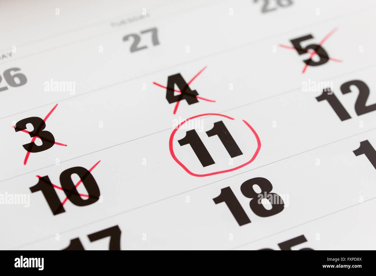 Calendario Conto Alla Rovescia.Il Cerchio Rosso Contrassegnato Su Un Calendario E X Mark