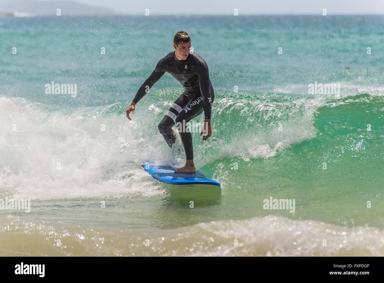 L'uomo corse la sua tavola da surf verso la riva. A sette miglia dal centro di Sydney, nota Manly Beach Immagini Stock