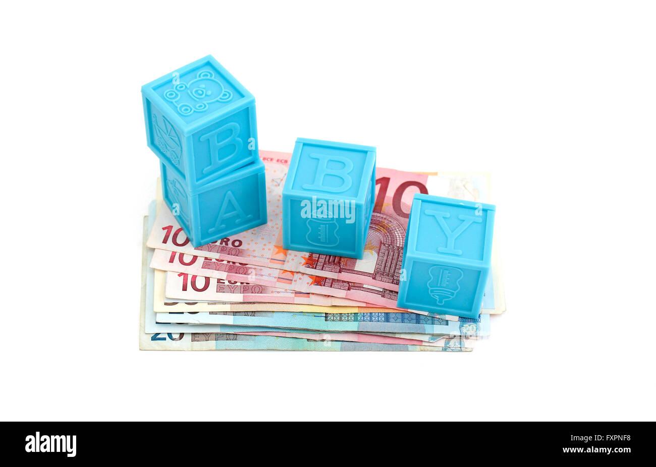 Tasselli in plastica sulla parte superiore delle banconote Immagini Stock