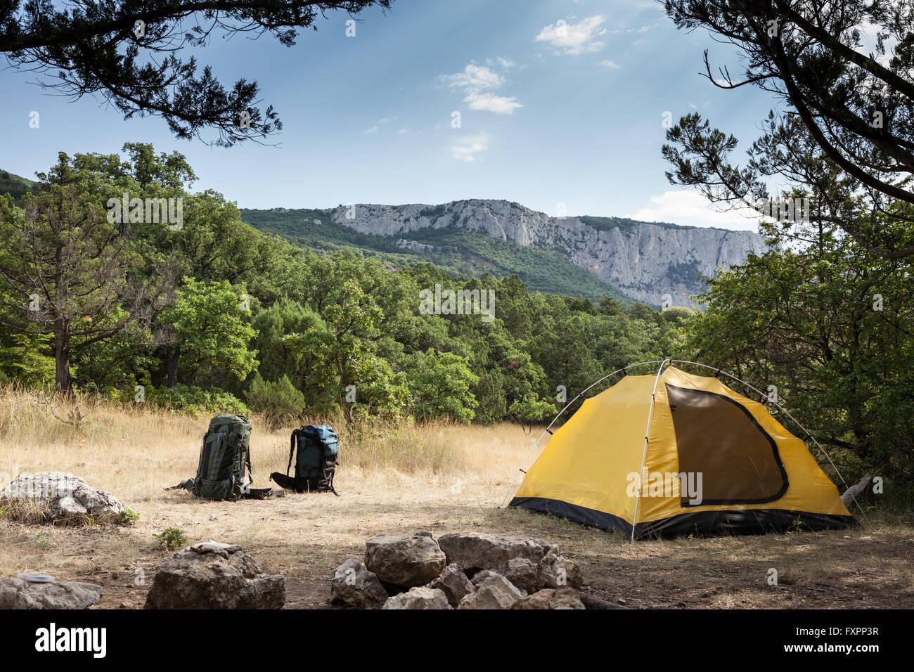Zaini e campeggio Immagini Stock