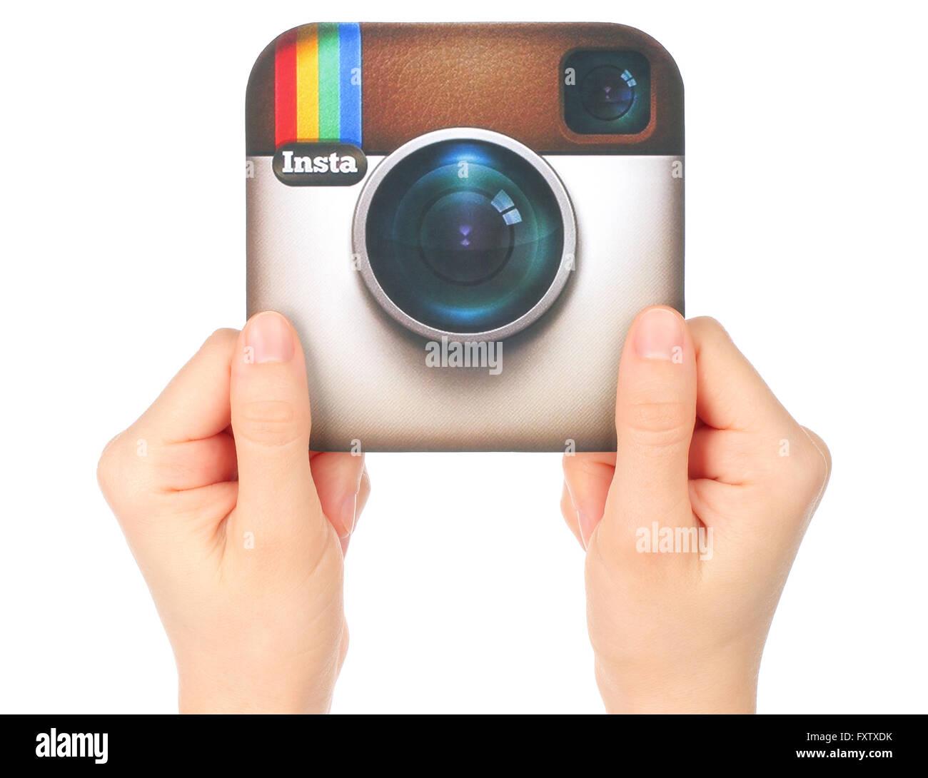 Kiev Ucraina 15 Gennaio 2016 Mani Tenere Instagram Logo Stampato