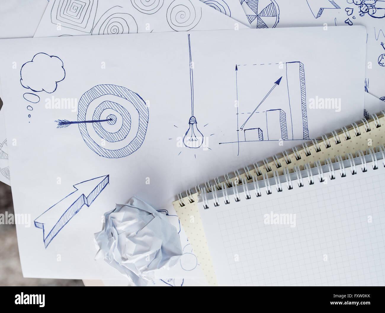 Impostare disegno a mano libera schizzi sul tema del business Immagini Stock