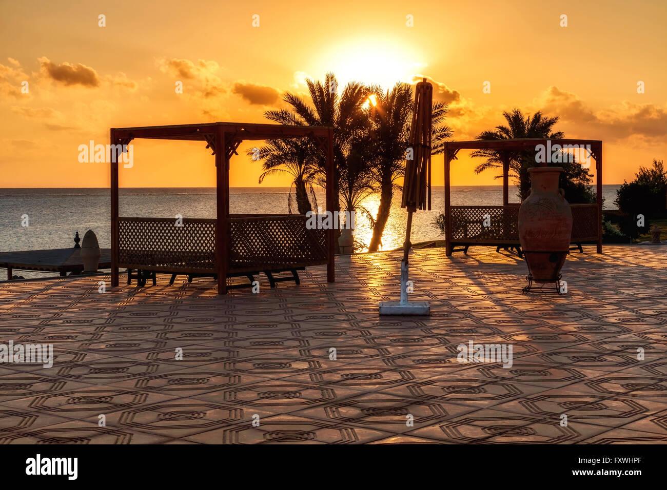Tramonto a Marsa Alam, Mar Rosso, Egitto Immagini Stock