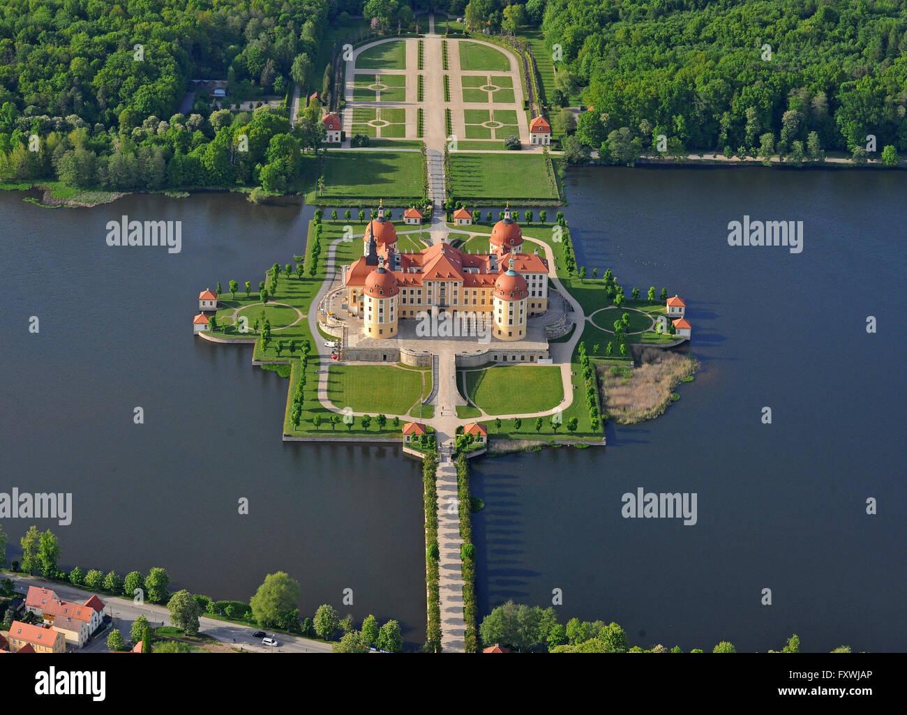 Das Schloss Moritzburg (Sachsen), das einstige Jagdschloss der Wettiner, aufgenommen am 11.05.2013. Schloss Moritzburg Immagini Stock