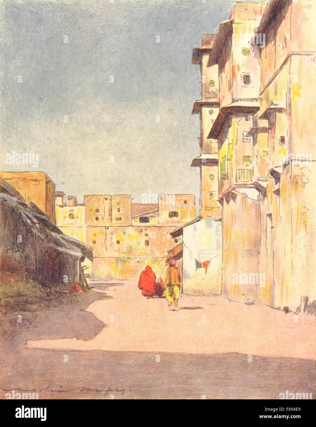 INDIA: una strada a Jaipur, antica stampa 1905 Immagini Stock
