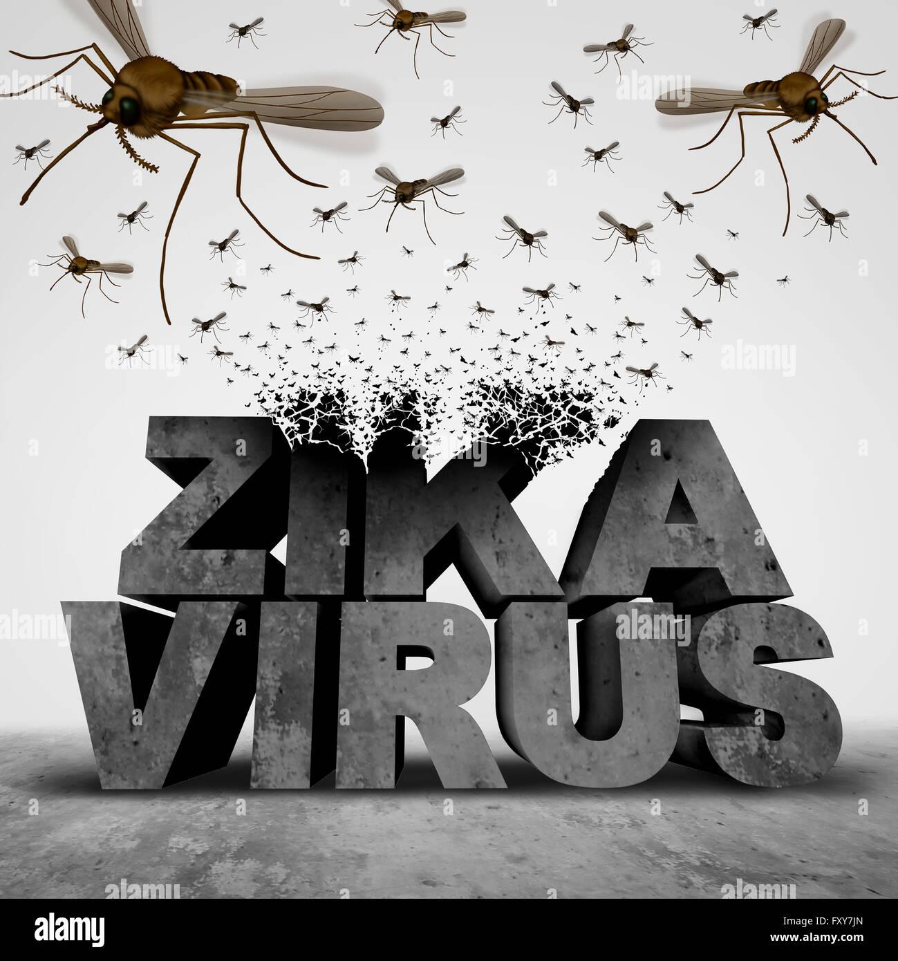 Zika virus Concetto di pericolo come 3D illustrazione trasformando il testo a un gruppo di sciamare zanzare infettive Immagini Stock
