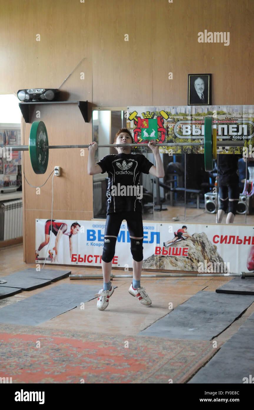 Kovrov, Russia. Il 17 maggio 2015. Concorsi di sollevamento pesi Immagini Stock