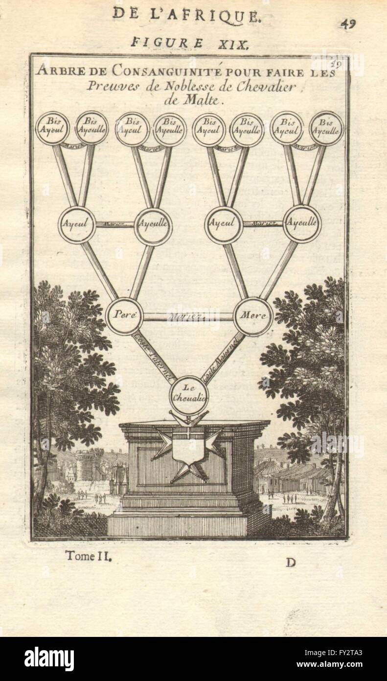 MALTA: Ancestry & prove di nobiltà dei Cavalieri Ospitalieri di Malta. MALLET, 1683 Immagini Stock