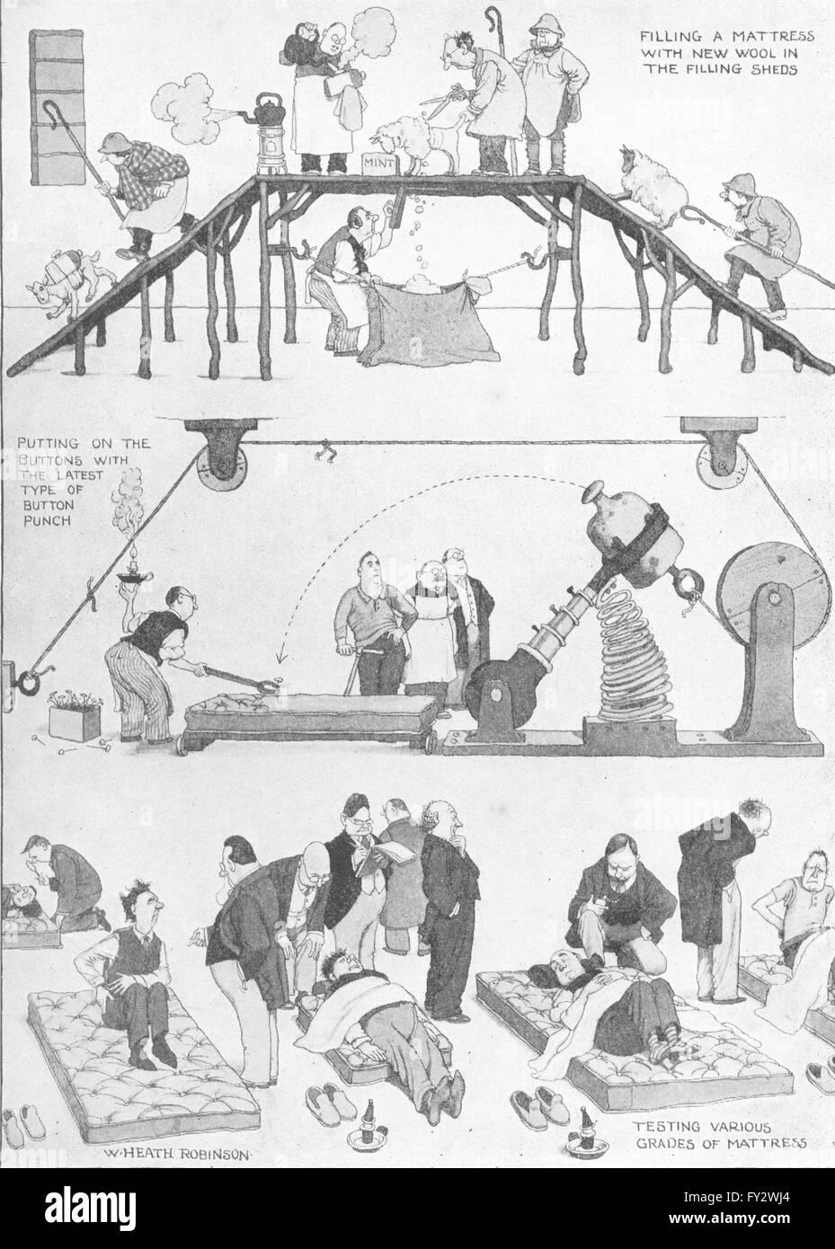 HEATH ROBINSON: Semi-ore a un materasso in fabbrica, vintage print 1935 Immagini Stock