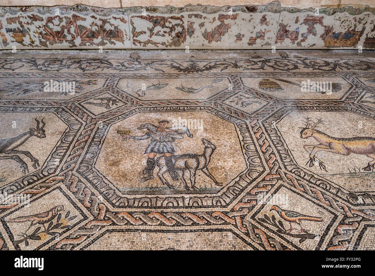 Dei primi Cristiani pavimento in mosaico con simbologia animale, del IV secolo, esposto nella basilica di stile Immagini Stock