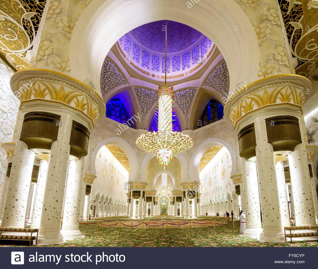 All'interno di Sheikh Zayed Grande moschea Immagini Stock