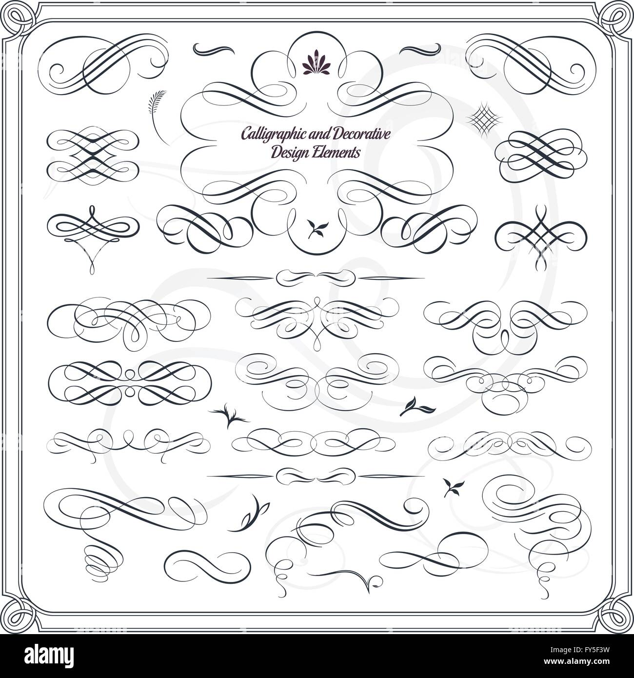 Collezione di decorativi calligrafico gli elementi di design Immagini Stock