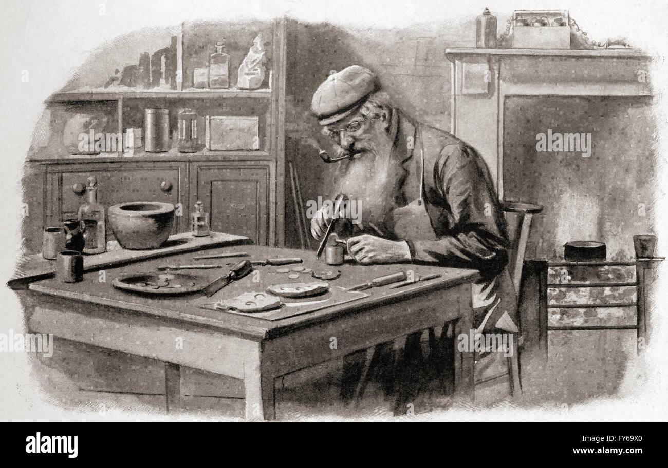 Un coiner al lavoro, Londra, nei primi anni del XX secolo. Immagini Stock