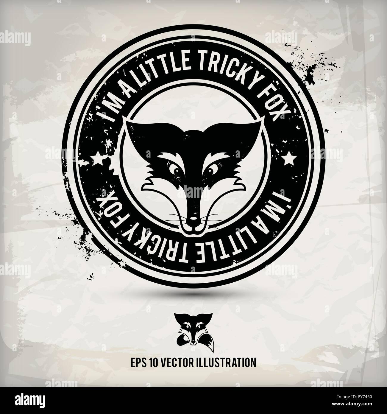 Alternativa black fox etichetta / timbro su sfondo a trama che è fatta da diversi strati trasparenti per un Immagini Stock