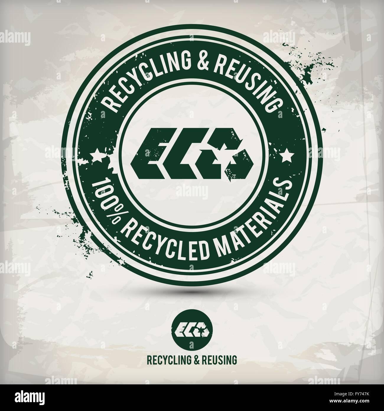 Alternative di riciclaggio e di riutilizzo di timbro su sfondo a trama che è fatta da diversi strati trasparenti Immagini Stock