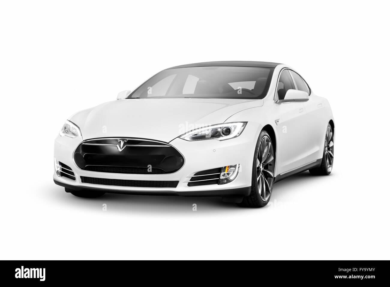 White 2014 Tesla Model S luxury auto elettrica berlina premium Immagini Stock