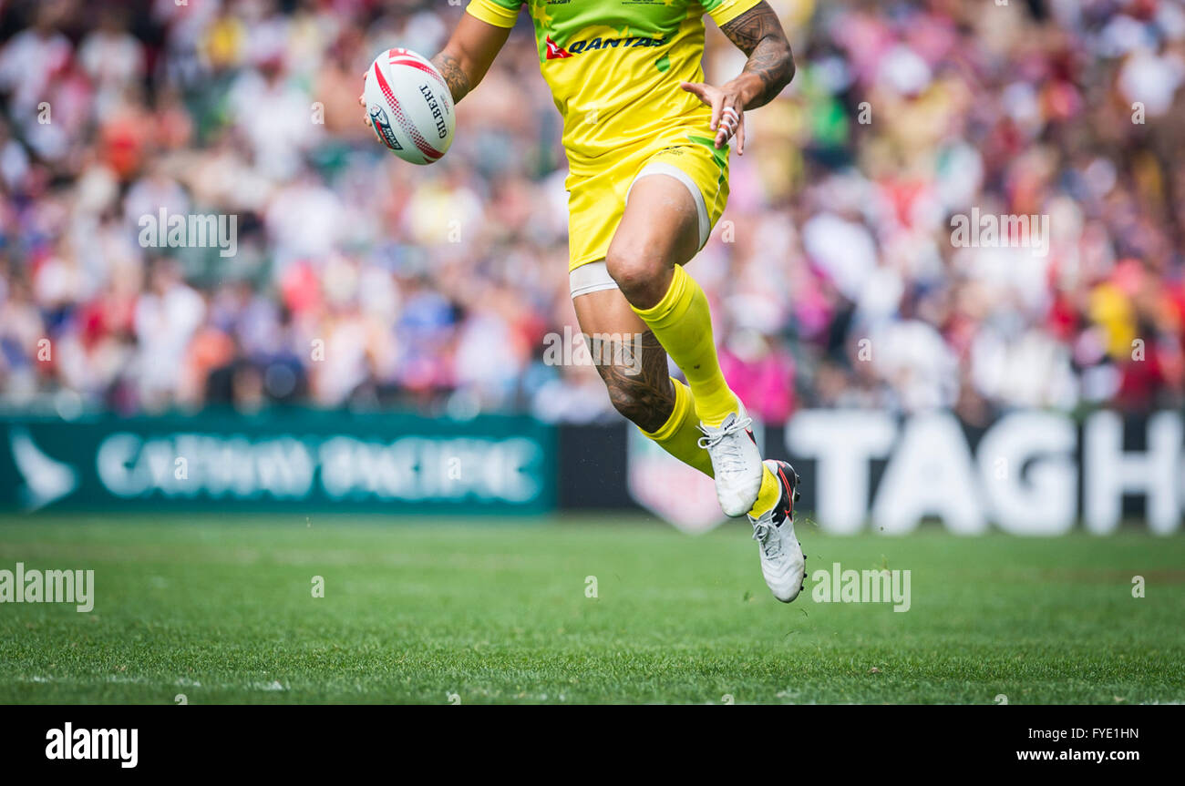 Australia in azione durante il 2016 HSBC / Cathay Pacific Hong Kong Sevens, Hong Kong Stadium. Dal 9 aprile 2016. Immagini Stock