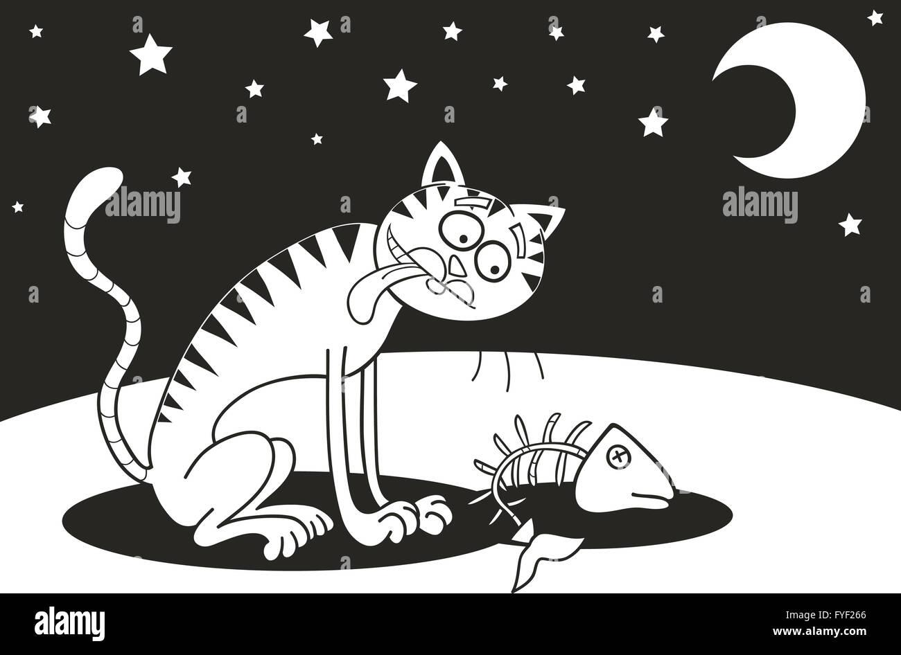 Cartoon Illustration Homeless Cat Immagini Cartoon Illustration