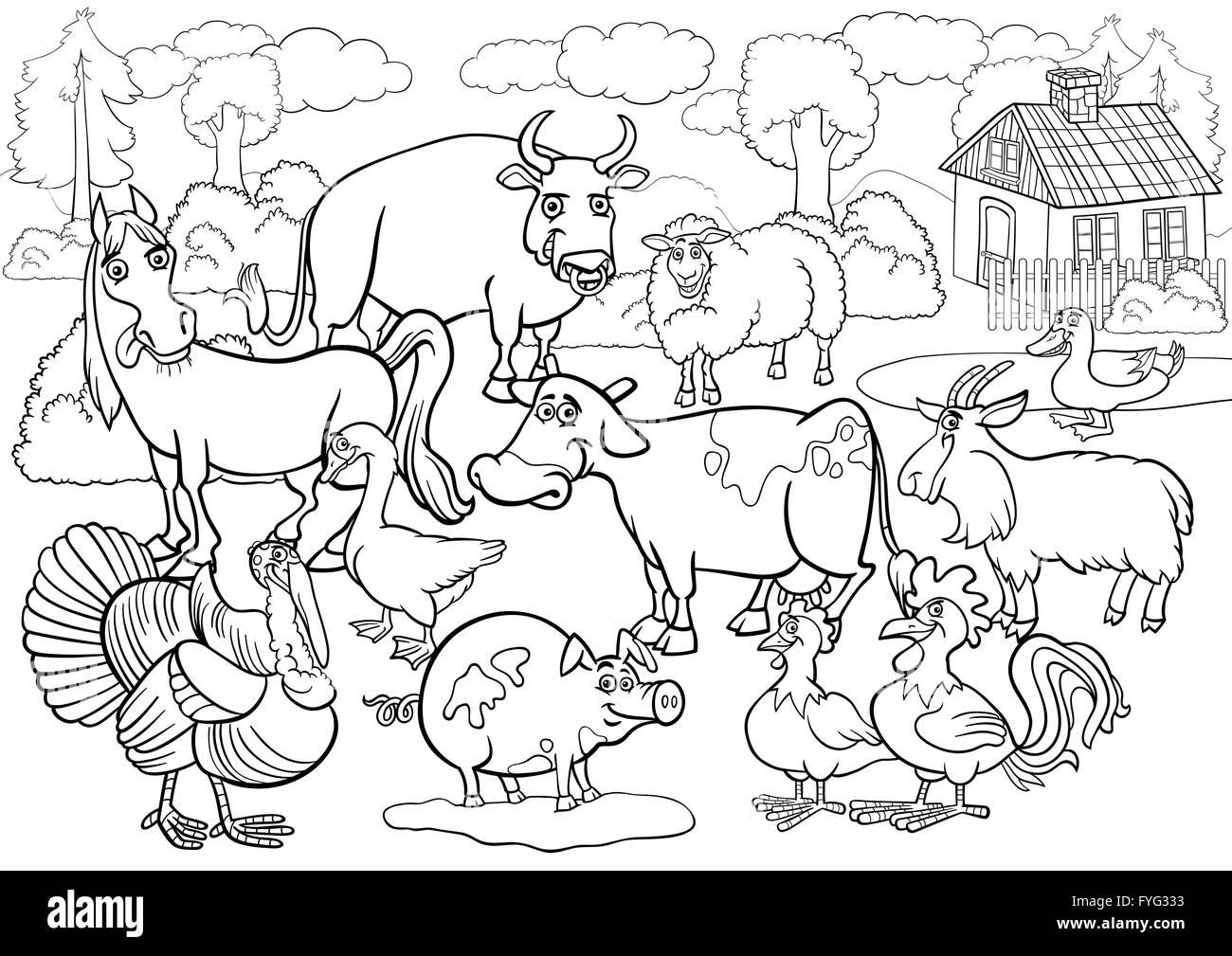 Gli Animali Della Fattoria Cartoon Per Libro Da Colorare Foto