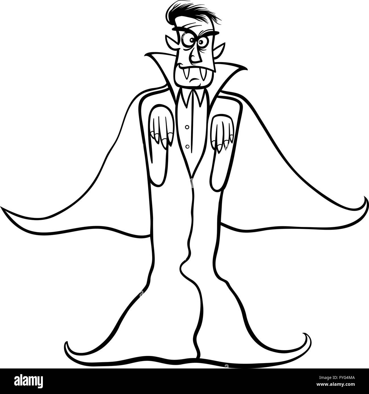 Dracula vampiro cartoon per libro da colorare Immagini Stock
