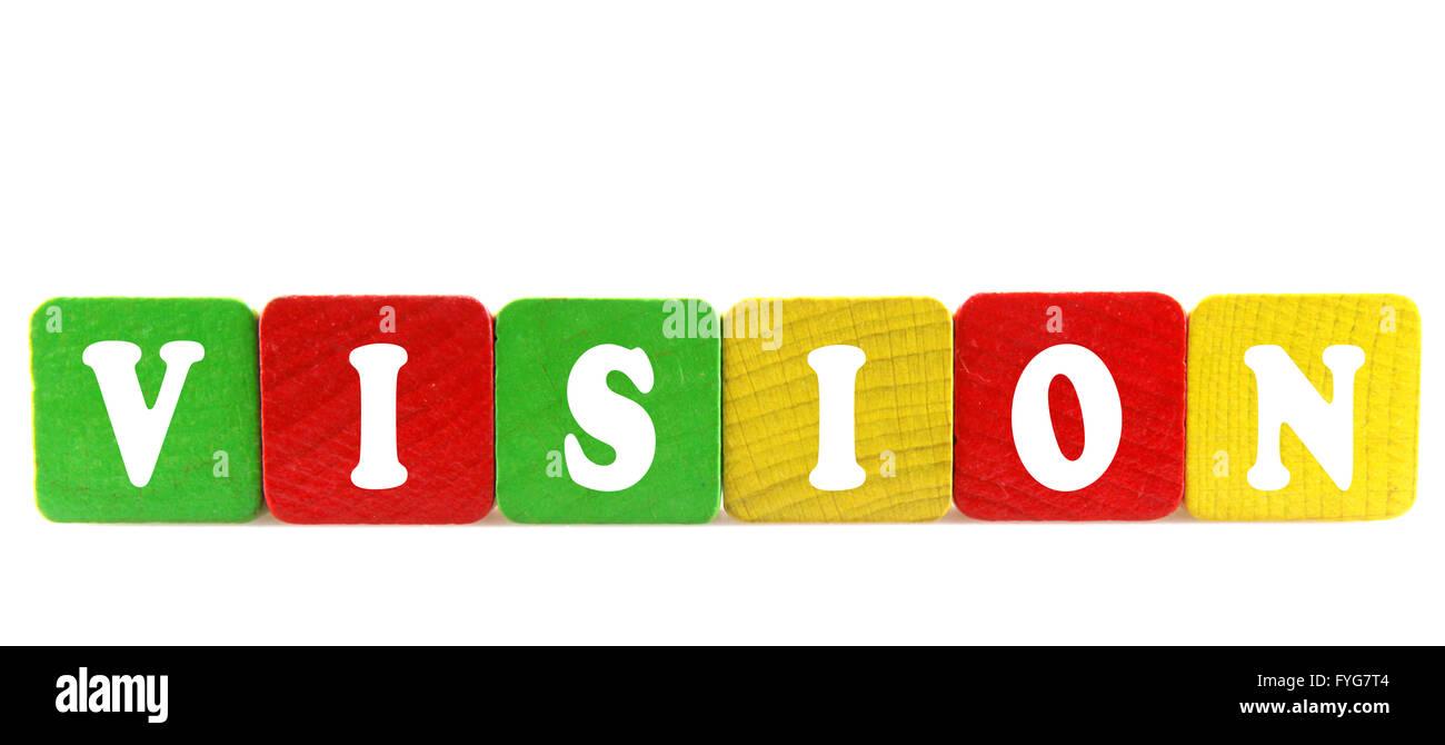 Vision - testo isolato in legno da costruzione di blocchi Immagini Stock
