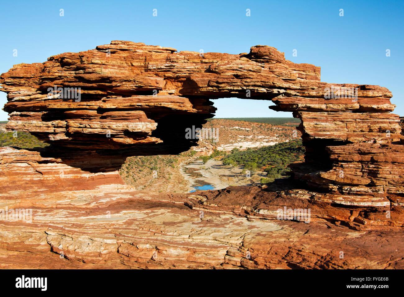 La natura della finestra, Mudstone formazione, Kalbarri Parco Nazionale Murchison, Australia occidentale Immagini Stock