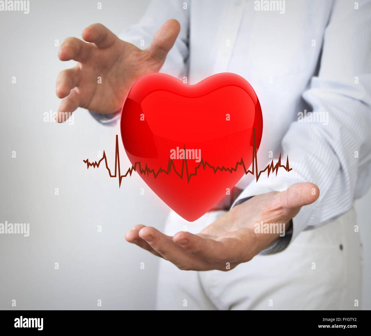 Assicurazione sanitaria concetto: 3d tino con electro tra le mani Immagini Stock