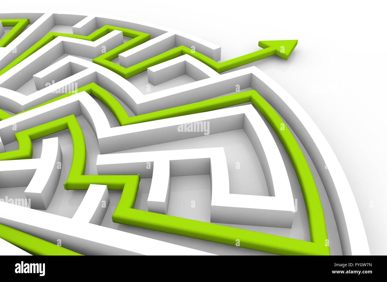 Sfida il concetto di successo: soluzione a labirinto Immagini Stock