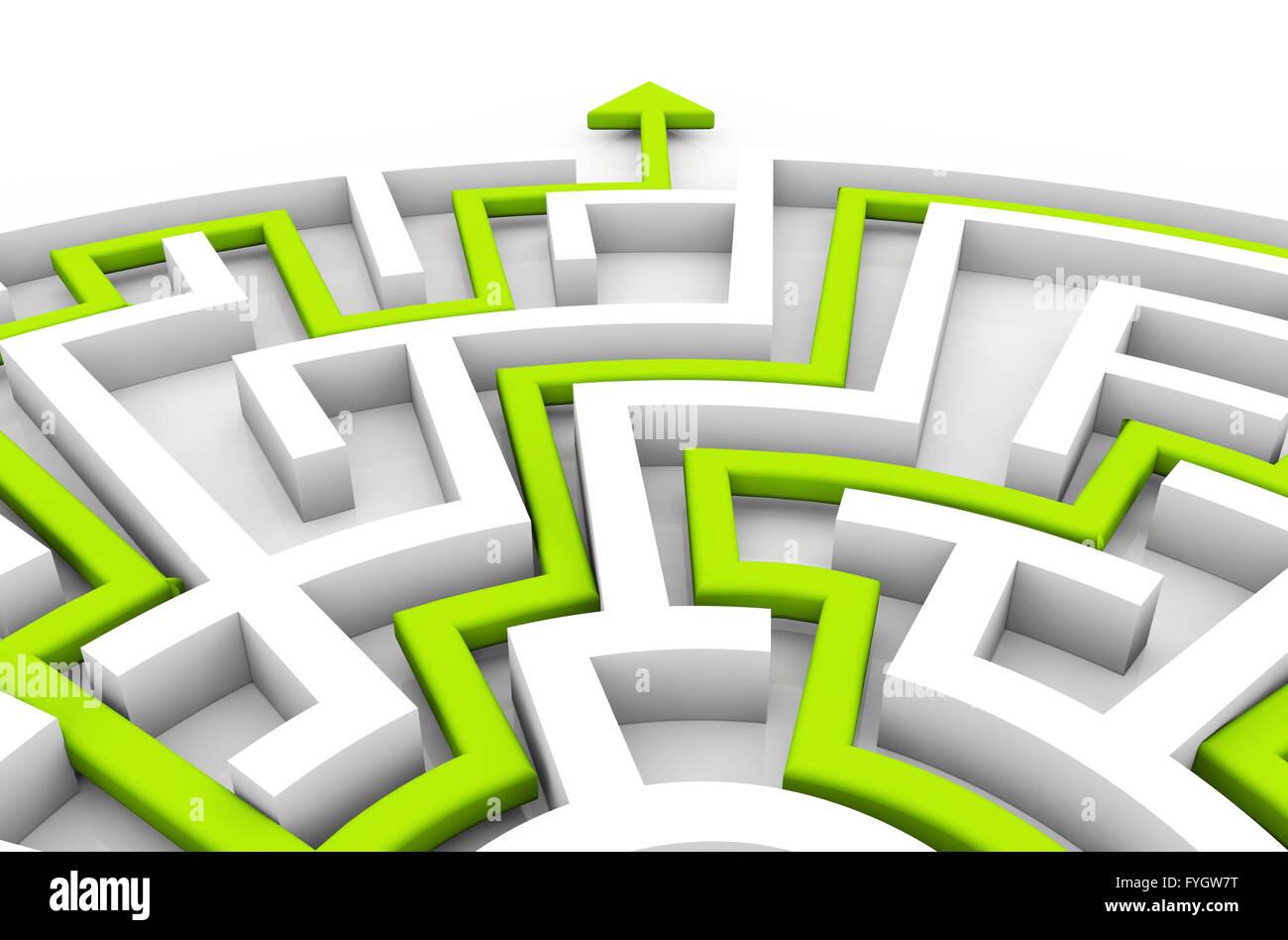 Concetto di successo: freccia verde che mostra il percorso di un labirinto exit Immagini Stock