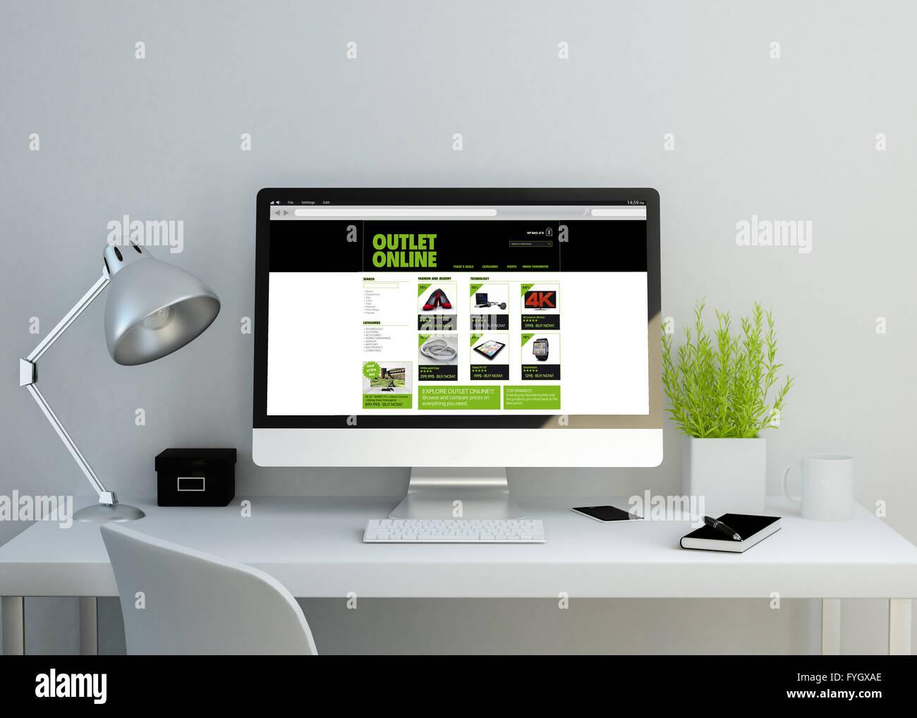 brand new 5f5d4 54186 Moderna area di lavoro pulito mockup con online shop sito ...
