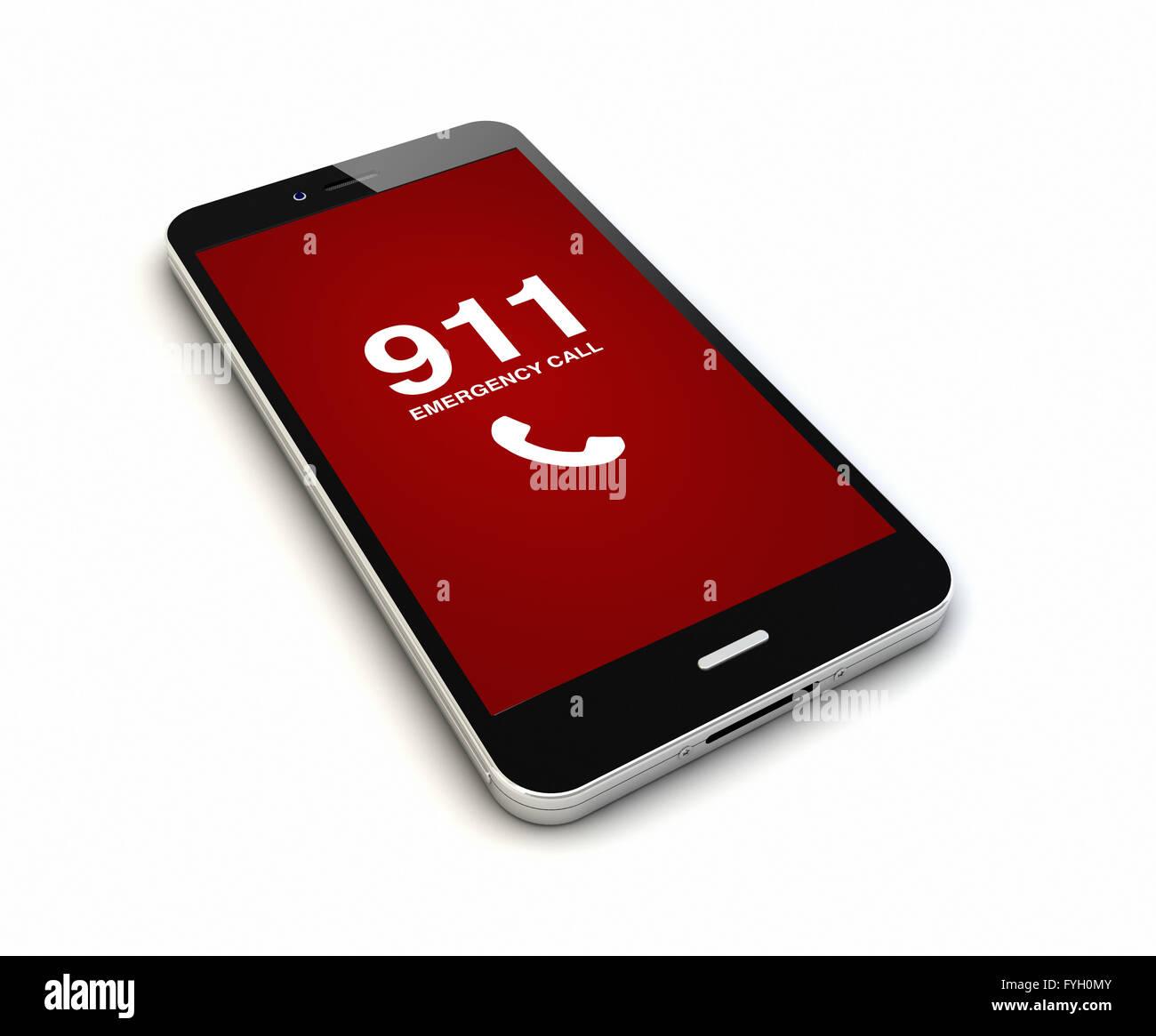 Eseguire il rendering di un originale smartphone con chiamata di emergenza sullo schermo. Grafici dello schermo Immagini Stock