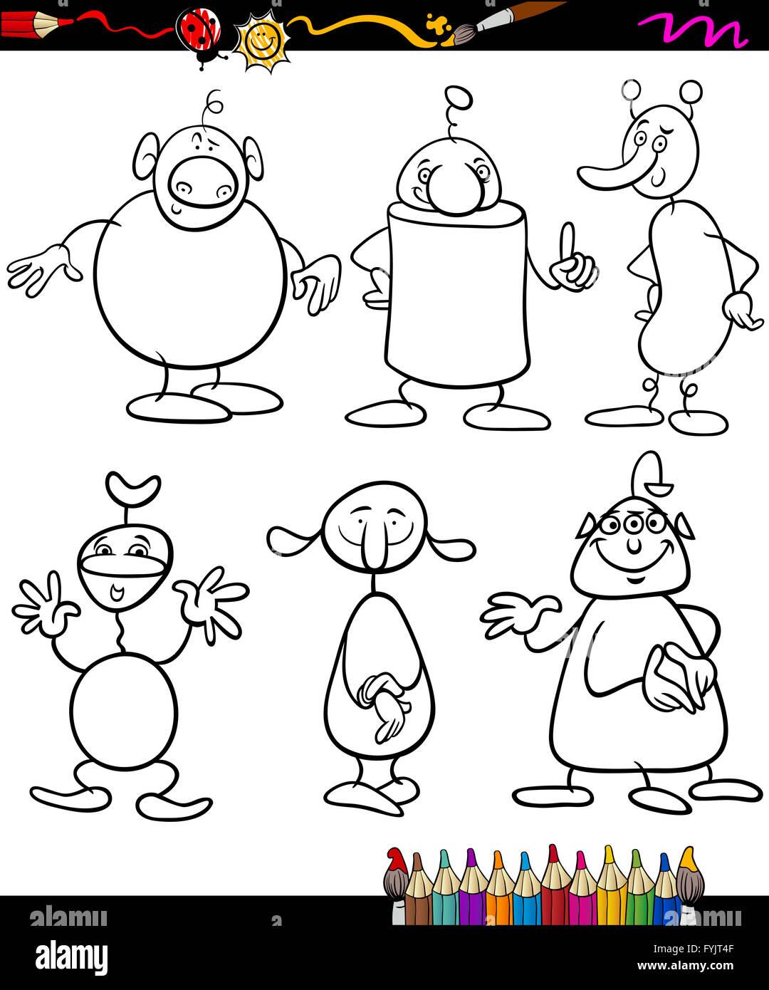 Gli Alieni Serie Cartoon Libro Da Colorare Foto Immagine Stock