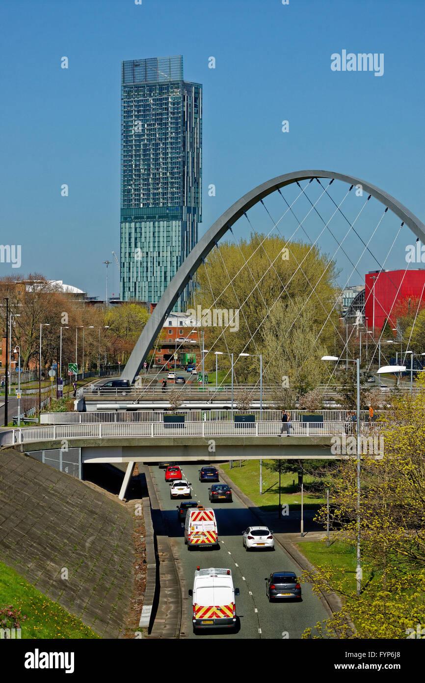 La principessa Rd. approccio per il centro città di Manchester dal sud e dall'aeroporto di Manchester. Immagini Stock