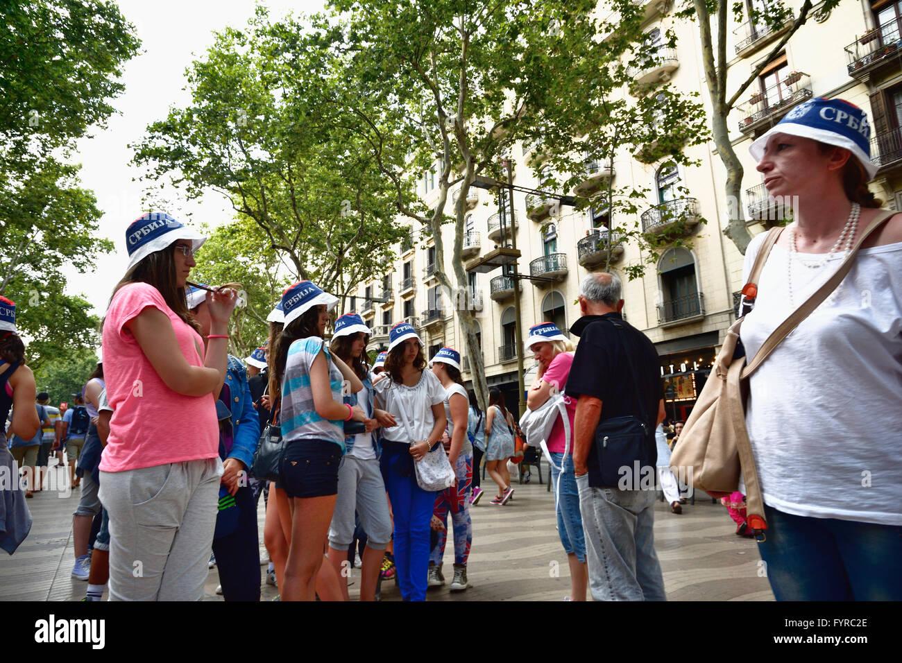 Turisti russi a Las Ramblas. Barcellona, in Catalogna, Spagna, Europa. Immagini Stock