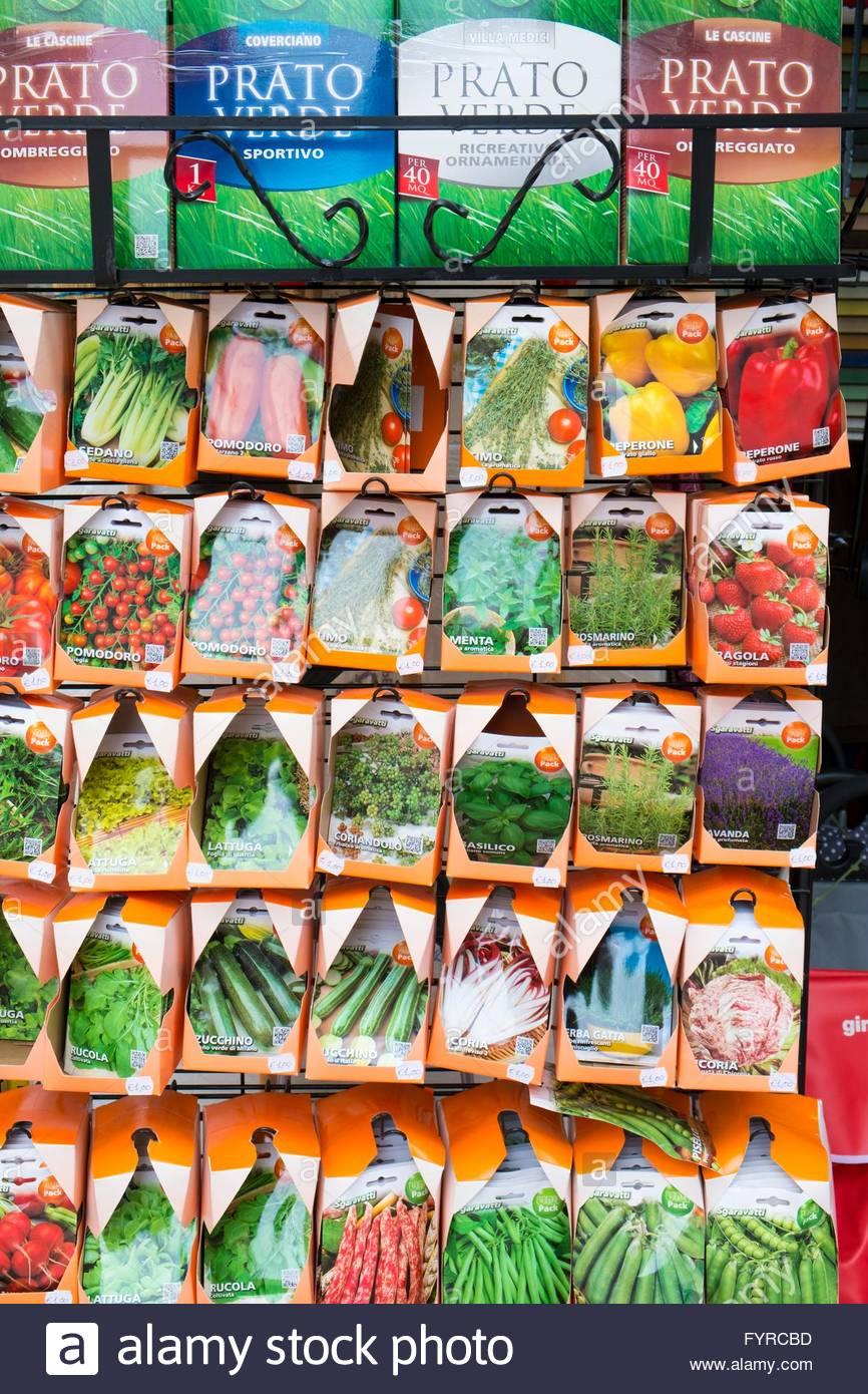 Italiano pacchetti di semi di Venezia, Italia, Aprile Immagini Stock
