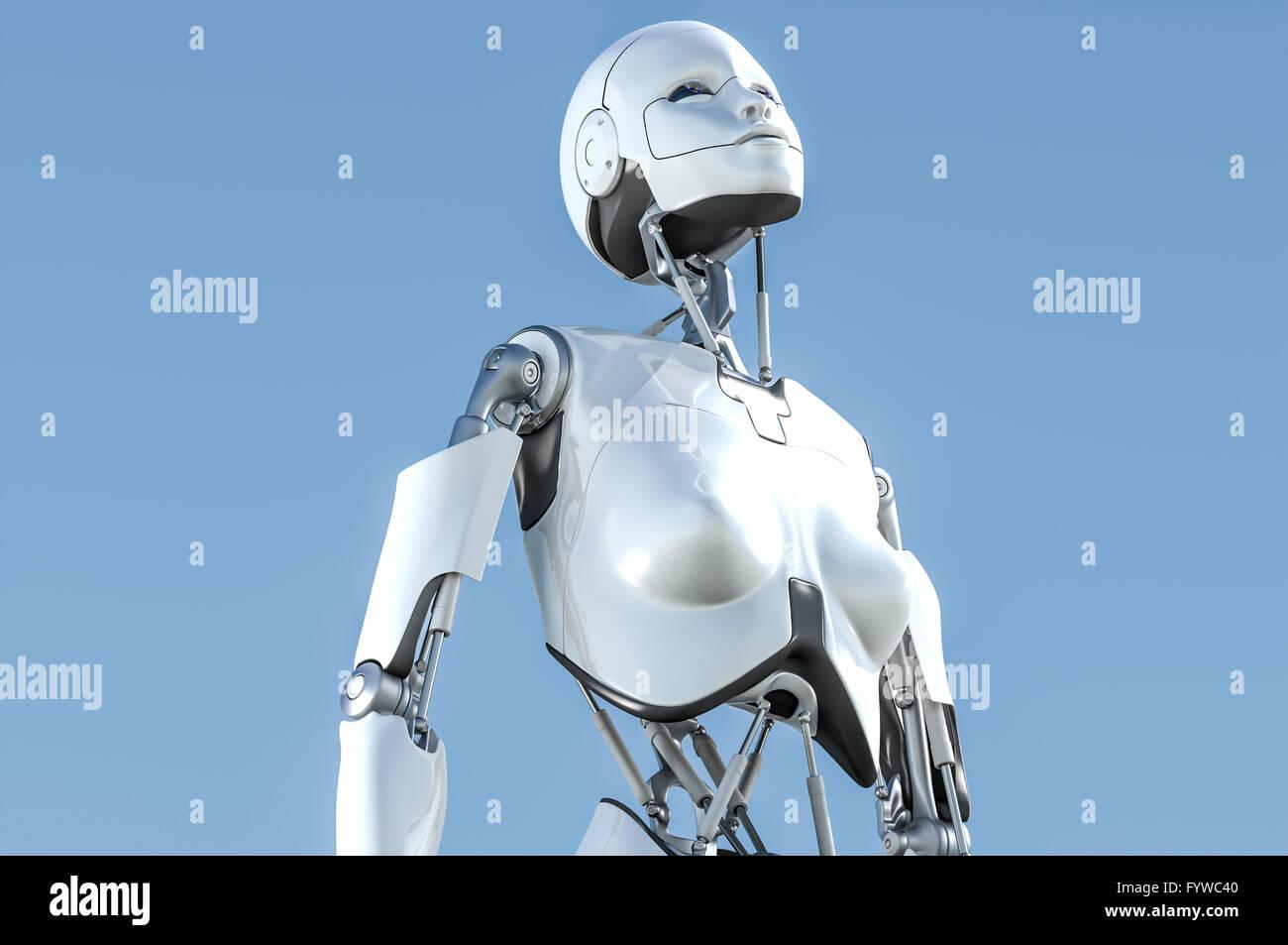 Femmina robot umanoide guardando in alto nel cielo. Immagini Stock